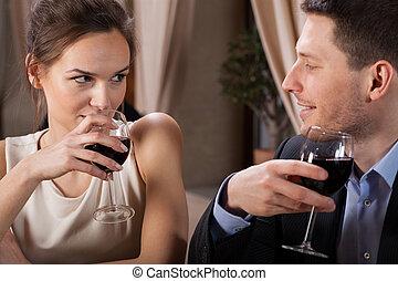 恋人, ワイン, 飲むこと, レストラン