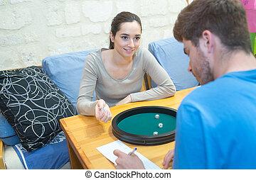 恋人, 一緒に, ゲームボード, 時間, 楽しむ, 遊び