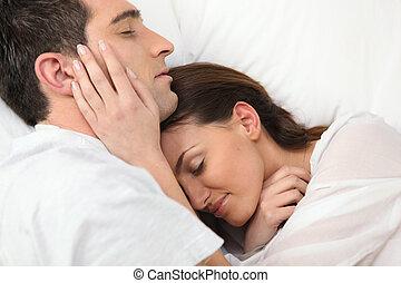恋人, 一緒に, 睡眠