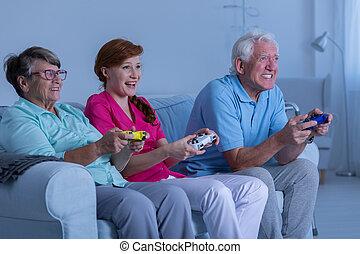 恋人, 世話人, 遊び, 年配