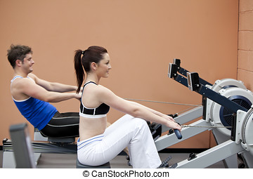 恋人, 中心, 使うこと, スポーツ, rower, 若い