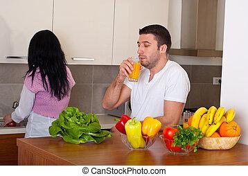 恋人, 中間の 大人, 台所