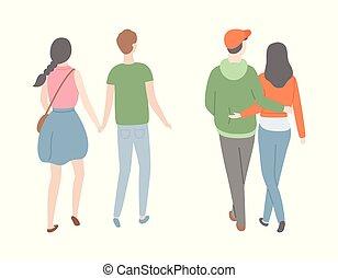 恋人, 人々, 恋人, ビューを支持しなさい, デートする, 幸せ