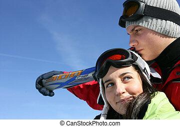 恋人, 休日, スキー