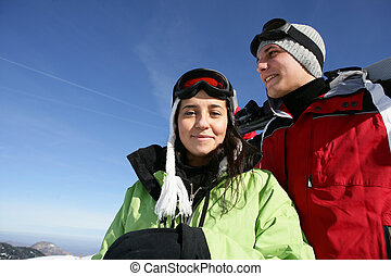 恋人, 休日, 一緒に, スキー