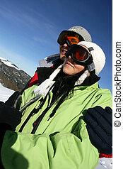 恋人, 休日, 若い, スキー