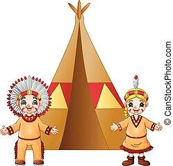 恋人, 伝統的である, アメリカインディアン, 衣装, 漫画, ネイティブ