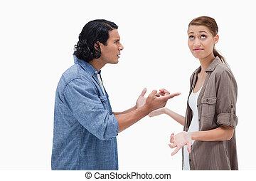 恋人, 側, 話し, 光景, 緊張させる