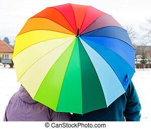 恋人, 傘, 年配, カラフルである