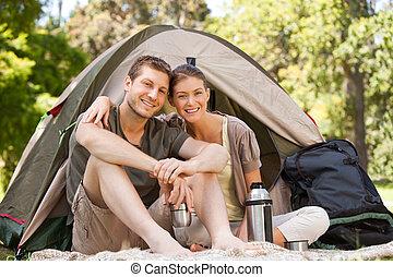 恋人, 公園, キャンプ