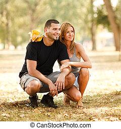恋人, 公園, 幸せ