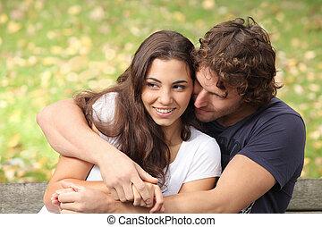 恋人, 公園, 抱き合う