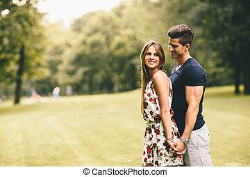 恋人, 公園, 若い