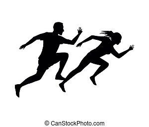 恋人, 動くこと, シルエット, 運動競技