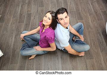 恋人, 坐らせる, 後部に戻って, 上に, laminate, 床材