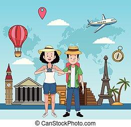恋人, 場所, 有名, 観光客, 特徴