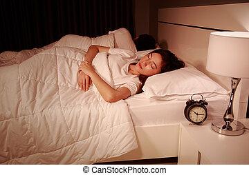恋人, 夜, ベッド, 睡眠, 寝室, 快適である