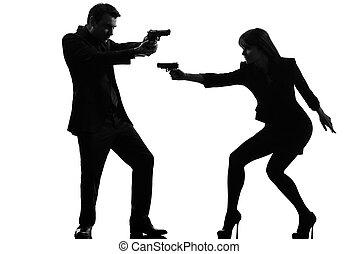 恋人, 女, 人, 探偵, スパイ, 犯罪者, シルエット