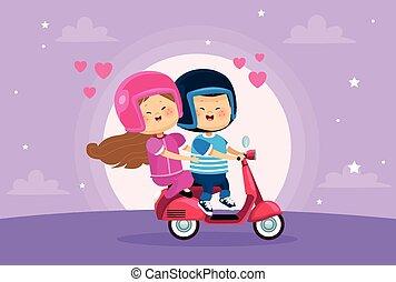 恋人, 子供, わずかしか, オートバイ, 恋人, かわいい