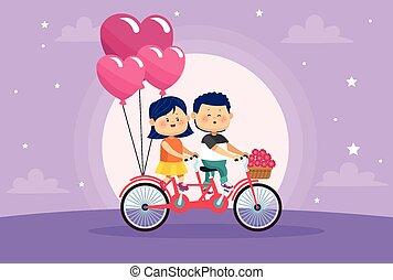 恋人, 子供, わずかしか, 風船, 自転車, 恋人, かわいい, ヘリウム