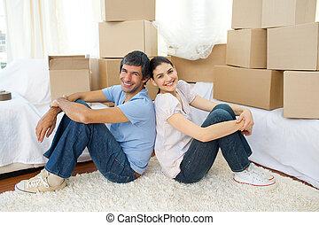 恋人, 家, 間, 弛緩, 引っ越し, 幸せ