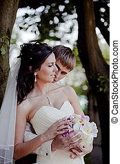 恋人, 屋外, 結婚式