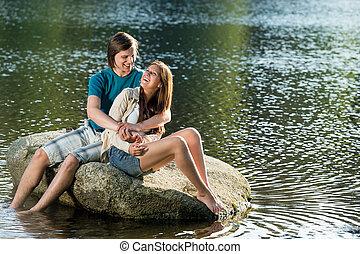 恋人, 岩, 湖, モデル