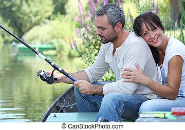 恋人, 川釣り