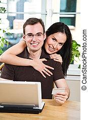 恋人, 幸せ, オンラインで買い物をする