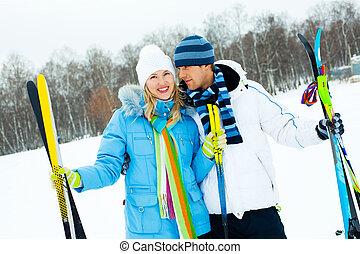 恋人, 幸せ, スキー