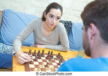 恋人, 幸せ, チェス, 遊び