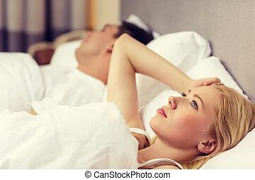 恋人, 幸せ, ベッド, 睡眠