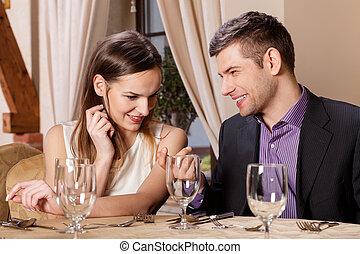 恋人, 幸せ, レストラン