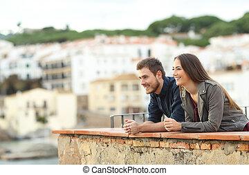 恋人, 幸せ, 休暇, 熟考すること, 光景