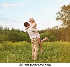 恋人, 幸せ, 愛, 若い, 屋外で
