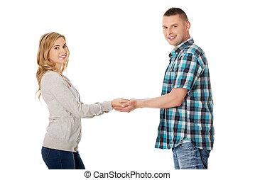 恋人, 幸せ, 手を持つ