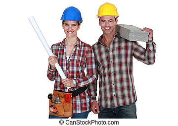 恋人, 建設, worker.