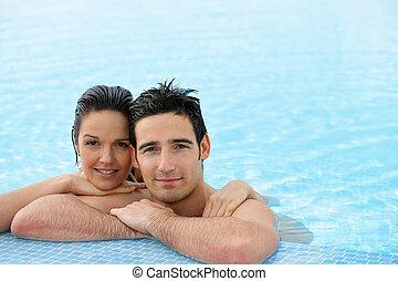 恋人, 弛緩, プール, 水泳