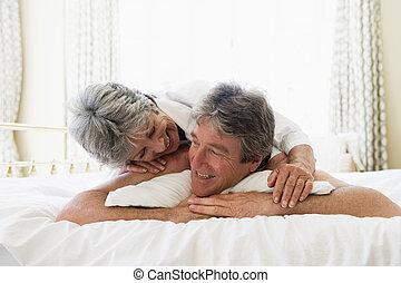 恋人, 微笑, 弛緩, 寝室