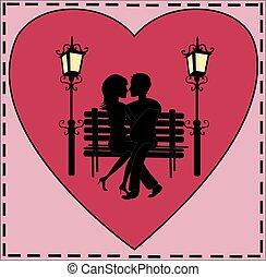 恋人, 愛, カード, ベンチ