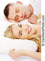 恋人, 成人, 若い, ベッド, 睡眠