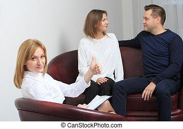 恋人, 持たれた, 心理学者, セッション, 療法, 幸せ