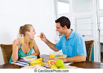 恋人, 持つこと, 朝食, 幸せ