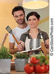 恋人, 料理の本, 台所