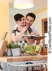 恋人, 料理の本, 若い, 台所