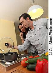 恋人, 料理, 台所
