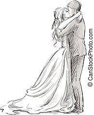 恋人, 新婚者, kiss., 結婚式
