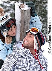 恋人, 旅行, スキー