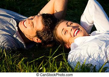 恋人, 日光, 牧草地, あること