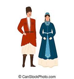 恋人, 服装, 要素, 身に着けていること, 衣服, 飾られる, 頭飾り, georgian, illustration...